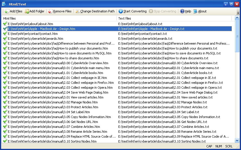 Click to view Html2Text 1.0 screenshot